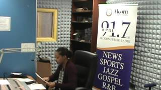 DJ P Love doing her show The Love Show on WPRL 91.7 FM