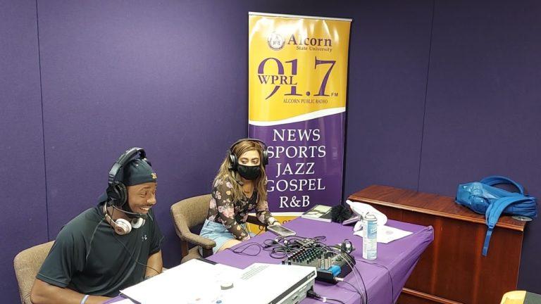 Jaylin Anderson doing his radio show 'JAYNATION' on WPRL 91.7 FM
